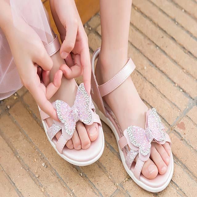 Children princess leather soft bottom sandals summer 2019 new fashion