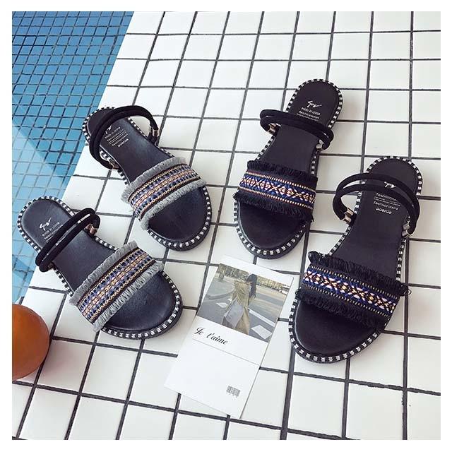 2019 new fashion student sandals flat bottom wild wear women slippers