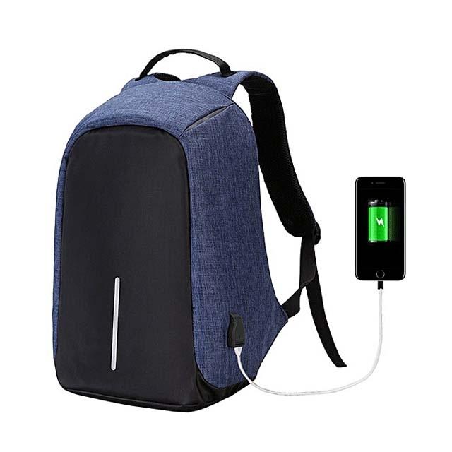 TZ0087 Anti theft Smart Laptop Bag - Blue