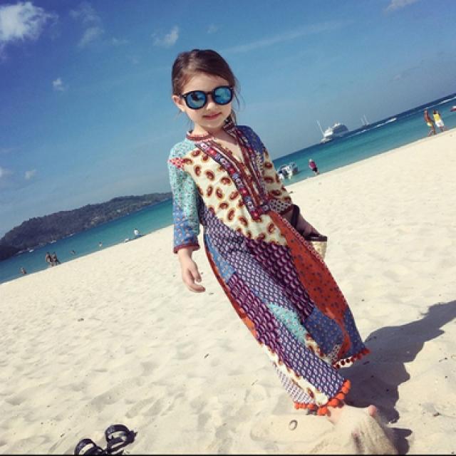2019 new summer girl dress, seaside holiday beach dress