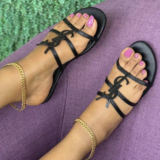 YSL Women Flat Sandals
