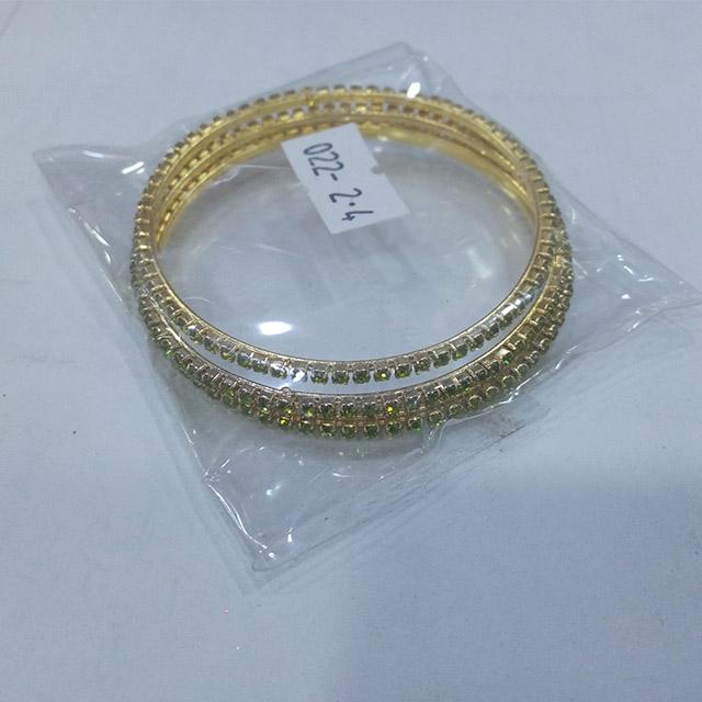Gold Bangle Bracelets with crystals - 12 pieces (Dozen)