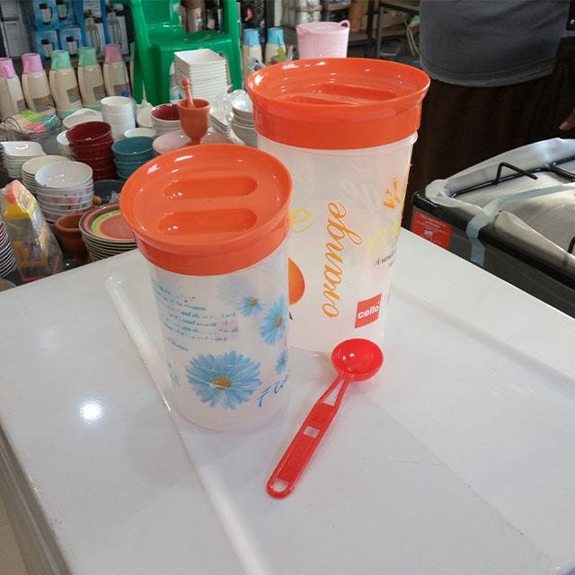 DeMo - Plastic Jar set with spoon